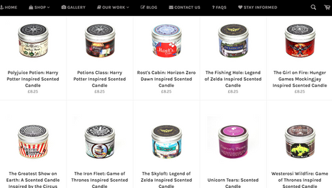 A neat product catalogue page for Happy Piranha Scented Candles