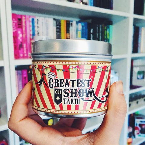 Greatest Show on Earth scented candle by Happy Piranha. Pic by @incaseofbookishness
