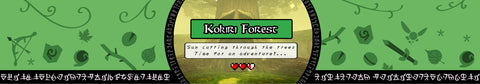 Kokiri Forest Zelda inspired scented candle label design | Happy Piranha.
