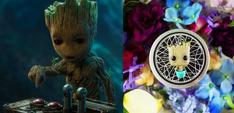 Baby Groot keychain in Fairyloot and Baby Groot in Guardians of The Glaxy