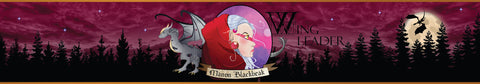 Wingleader Manon Blackbeak scented candle label design | Happy Piranha.