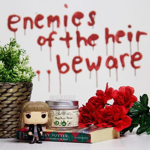 Polyjuice potion scented candle by happy piranha, photo by @novelhearbeat