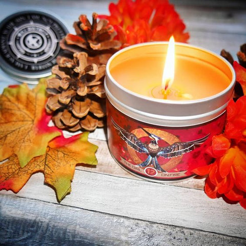 Girl on Fire scented candle by Happy Piranha. Pic by @sammysshelf