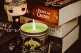 Westerosi Wildfire scented candle by Happy Piranha with Cerci funko