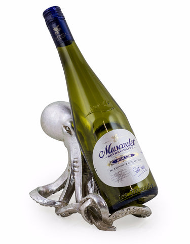 Silver Octopus Wine Bottle Holder with a wine bottle | Happy Piranha