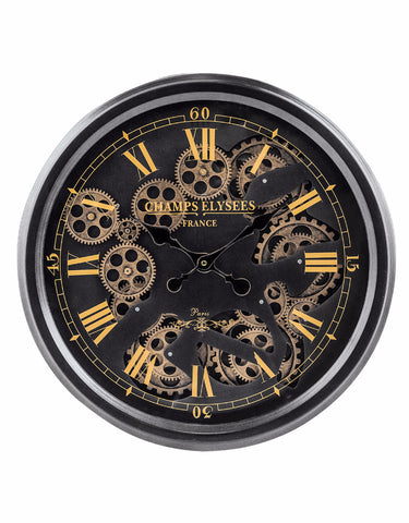 Black and Gold Moving Gears Steampunk Wall Clock | Happy Piranha