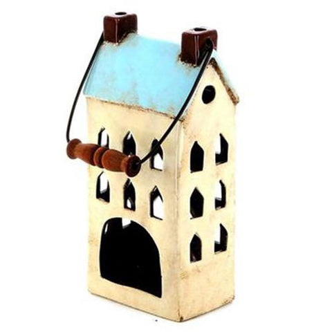 Blue Ceramic House Lantern | Happy Piranha