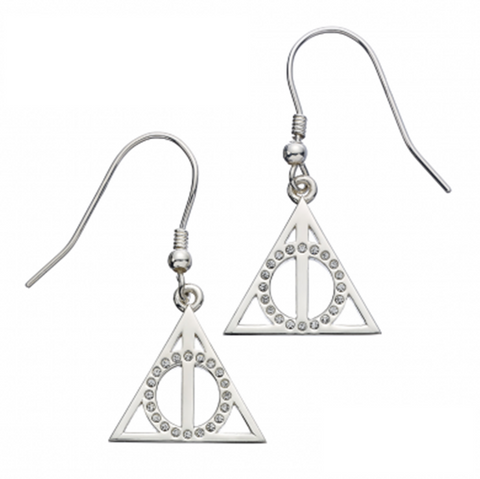 Harry Potter Sterling Silver Deathly Hallows Earrings with Swarovski Crystals | Happy Piranha