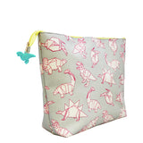 Origami Dinosaur Wash Bag side view and outside design
