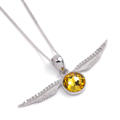 Harry Potter Silver Golden Snitch Necklace with Swarovski Crystals
