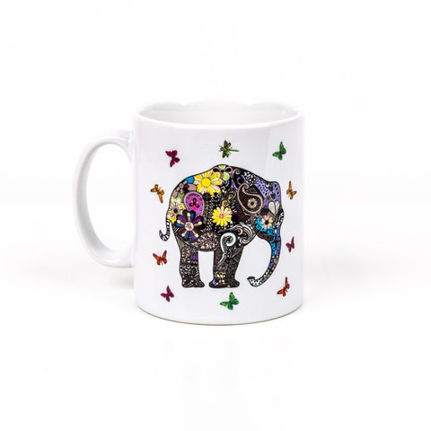 Henna Art Elephant: Premium Brilliant White Mug