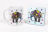 Henna art elephant coffee mug and coaster set by Happy Piranha