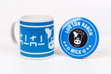Lon lon ranch blue zelda inspired mug ans coaster by Happy Piranha