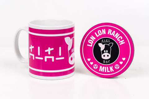 Lon lon ranch pink mug and coaster by Happy Piranha