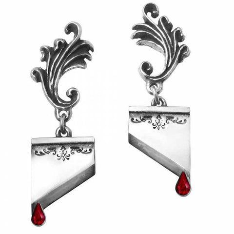 Mario Antoinette: Pewter and Swarovski Crystal Guillotine Ear Studs | Happy Piranha