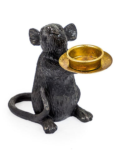 Black Mouse Candle Holder (Left) | Happy Piranha