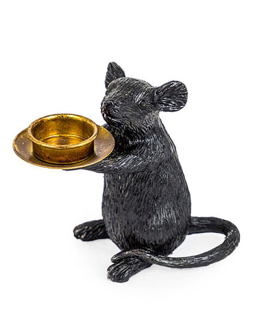 Black Mouse Candle Holder (Right) | Happy Piranha