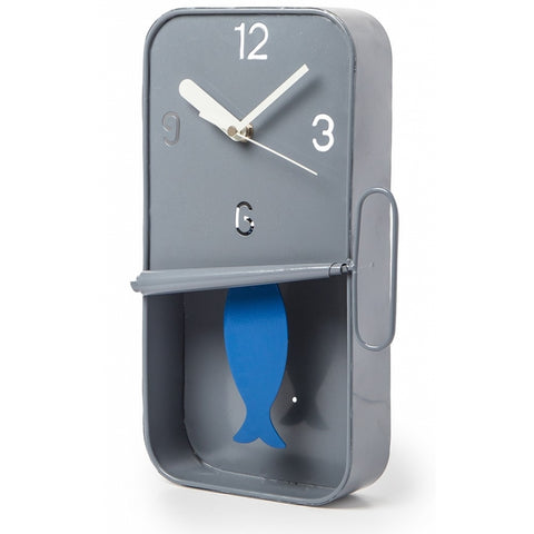 Sardine Tin Pendulum Wall Clock - Grey | Happy Piranha