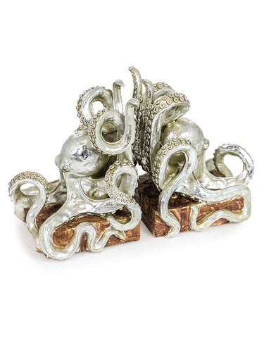 Silver octopus bookends | Happy Piranha