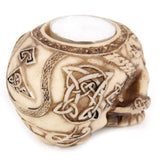 Celtic Tattoo Skull Tealight Holder Back Design | Happy Piranha