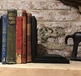 T-REX Skull Dinosaur Bookends on a shelf with books | Happy Piranha