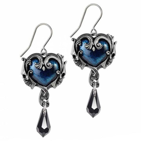 Affaire du Coeur: Pewter and Swarovski Crystal Dropper Earrings | Happy Piranha