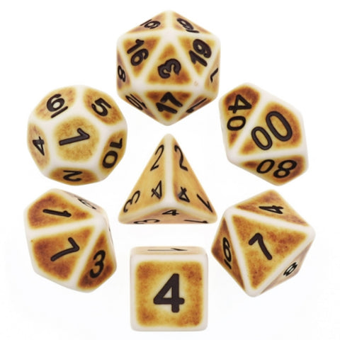 Bone Brown Ancient Poly Dice | Happy Piranha