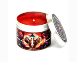Aries the ram zodiac candle with lid off and red wax | Happy Piranha