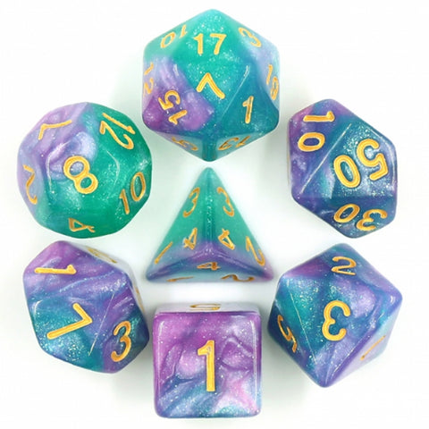 Aurora Poly Dice Set (Purple, Blue and Turquoise) | Happy Piranha