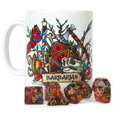 Dungeons and Dragons (DnD) Customisable Class (Barbarian) Dice Mug | Happy Piranha
