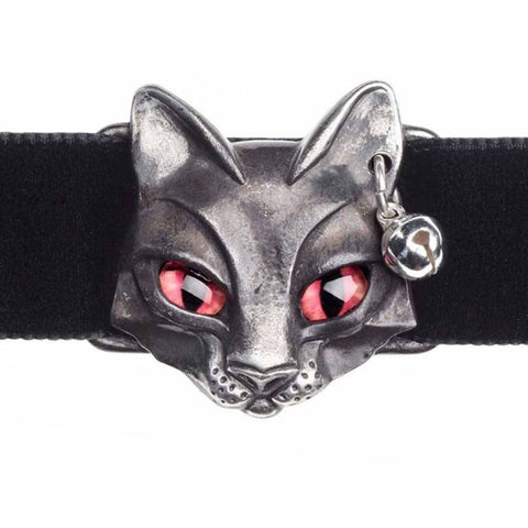 Bastet Goddess: Egyptian Cat Pewter and Velvet Choker | Happy Piranha