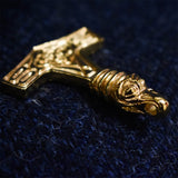 Bird Headed Thor's Hammer: Gold Plated Viking Pendant (Side Profile) | Happy Piranha