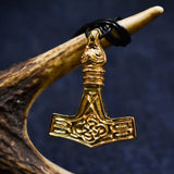 Bird Headed Thor's Hammer: Gold Plated Viking Pendant Hanging from a Branch | Happy Piranha