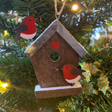 Birdhouse Robins Hanging Christmas Decoration on a Christmas Tree  | Happy Piranha