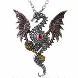 Blast Furnace Behemoth: Pewter and Swarovski Crystal Dragon Pendant | Happy Piranha