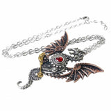 Blast Furnace Behemoth: Pewter and Swarovski Crystal Dragon Pendant and Chain | Happy Piranha