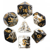 Blood & Ink Poly Dice Set - Kraken Ink (Black Ink Swirls) | Happy Piranha