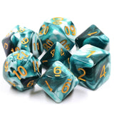 Critical Cream Poly Dice Set - Spirit Link  (Blue and White Ink) | Happy Piranha