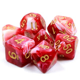 Critical Cream Poly Dice Set - Strawberry Ripple (Red and White Cream) | Happy Piranha