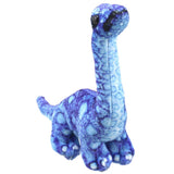 Blue Brontosaurus Dinosaur Finger Puppet Front View | Happy Piranha
