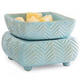 Blue Chevron: 2-in-1 Electric Wax Melt and Candle Warmer | Happy Piranha