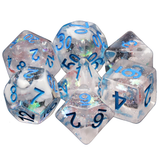Snow Globe Poly Dice Sets - Blue Notes (Frosty and glitter flowers) | Happy Piranha