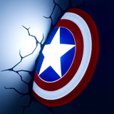 Marvel Captain America's Shield 3D Wall Light Glowing in a Dark Room | Happy Piranha