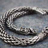 Chunky Dragon: Pewter Viking Bracelet Dragon Head Close Up | Happy Piranha