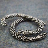 Chunky Dragon: Pewter Viking Bracelet Back and Front View  | Happy Piranha