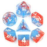 Blood & Ink Poly Dice Set - Blood Waved (Blue and Red Droplets) | Happy Piranha