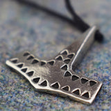 Danish Hammered Hammer Pewter Viking Pendant Front Design | Happy Piranha