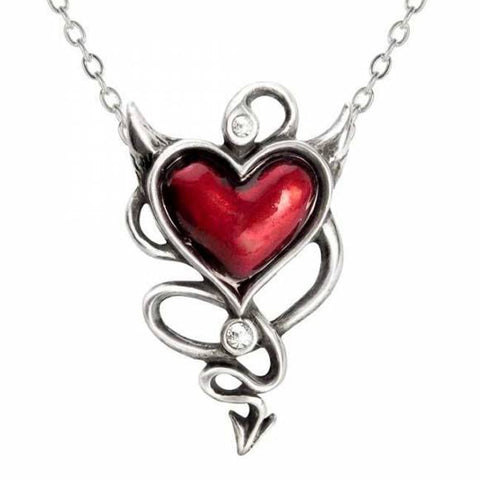 Devil Heart Pewter & Swarovski Crystal Pendant | Happy Piranha