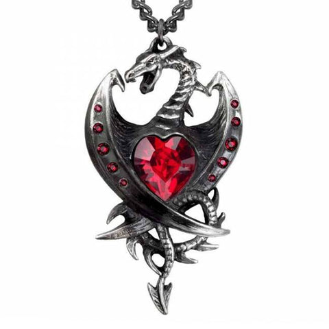 Diamond Heart Dragon: Pewter and Swarovski Crystal Pendant  | Happy Piranha