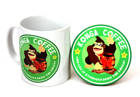Konga coffee mug and coaster set by Happy Piranha - nintendo inspired